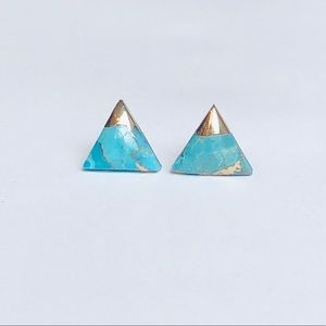 Jewelry - Triangle Turquoise  18k Gold Stud Earrings